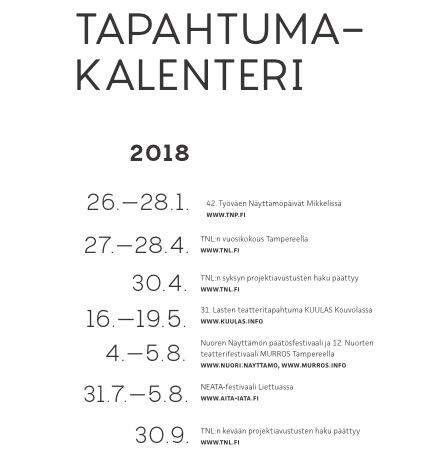 TNL-tapahtumakalenteri 2018